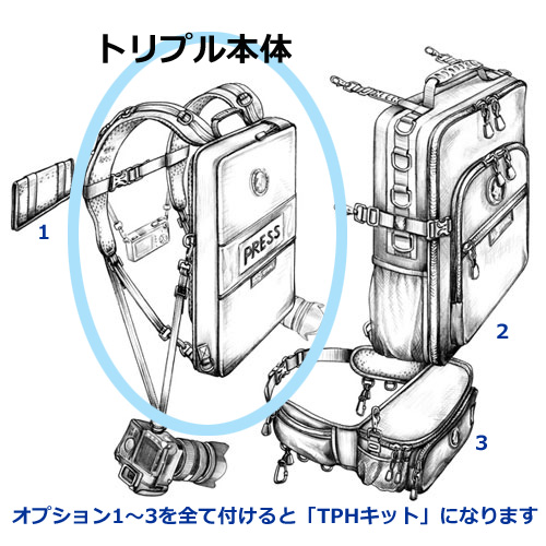 【ロタボールトリプル】一眼レフ2台と背中にPCケース付き完璧な撮影キット